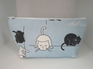 Handmade by Linzi Kitty in Duck Egg Blue Linen Oilcloth Make-Up Bag