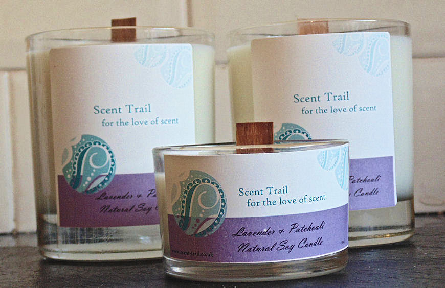 Scent trail lavender and patchouli aromatherapy soy candle for Aroma candle and scent company