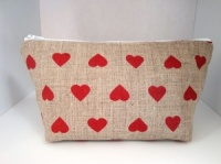 Handmade by Linzi Hearts Linen Oilcloth Make-Up Bag