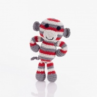 Pebble Fairtrade Crochet Red Monkey Rattle